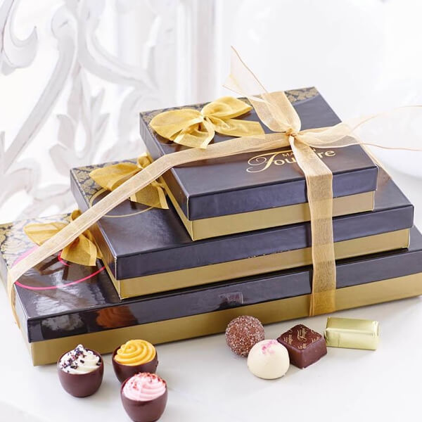 Trio of chocolates