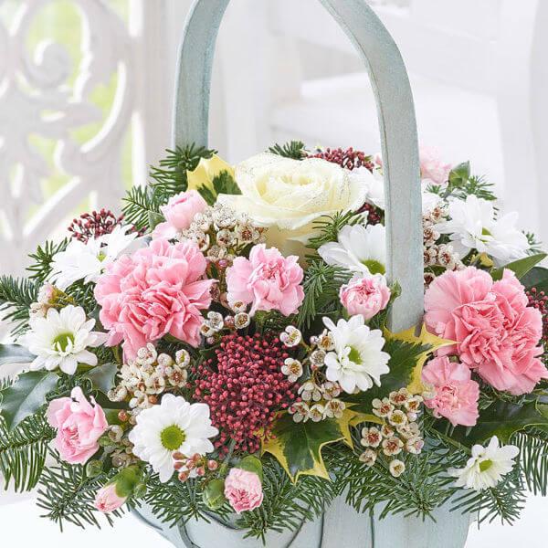 winter basket of flowers