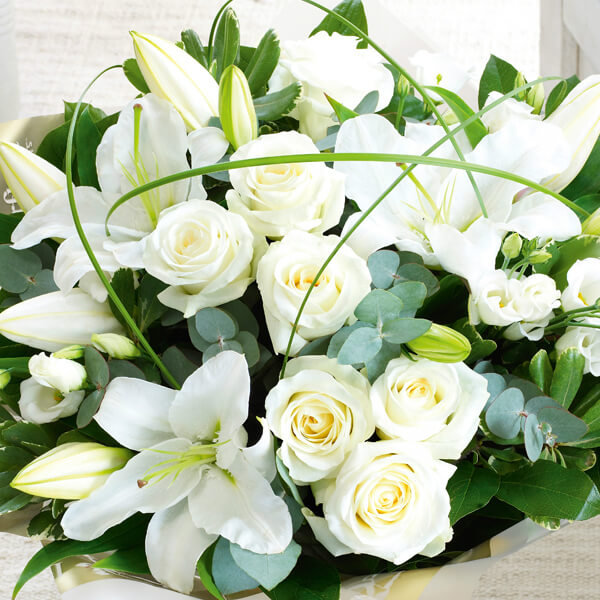 White Hand-tied Bouquet of Flowers