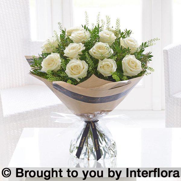 dramatic white roses