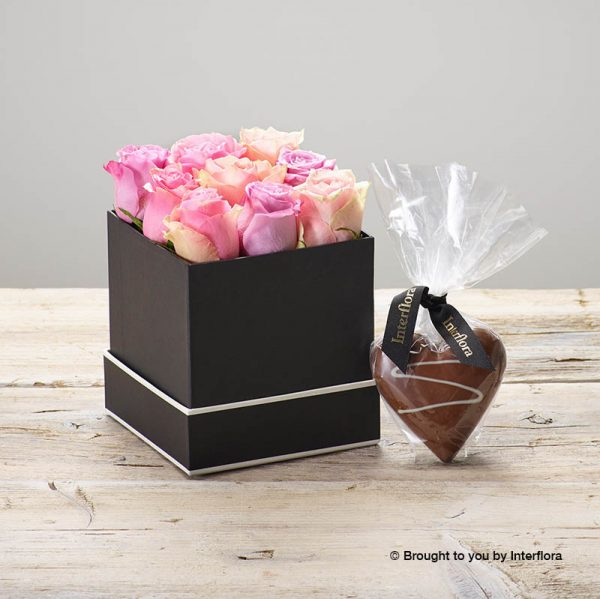 pink rose hatbox with chocolate heart