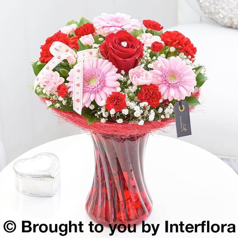 valentine's day vase of flowers