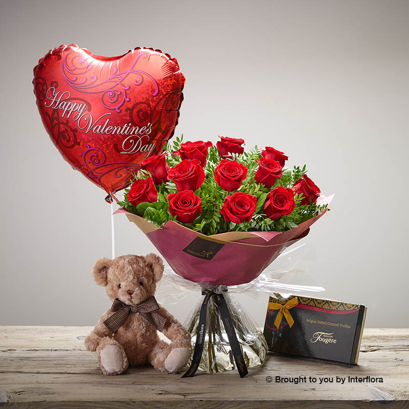 Gift Roses Chocolates, Teddy Bear and Balloon