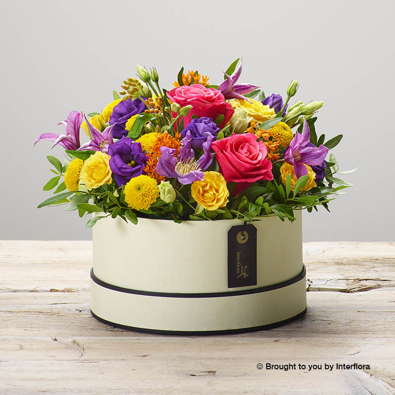 Hatbox of fresh flowers