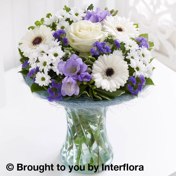 Vase of flowers, purple and white