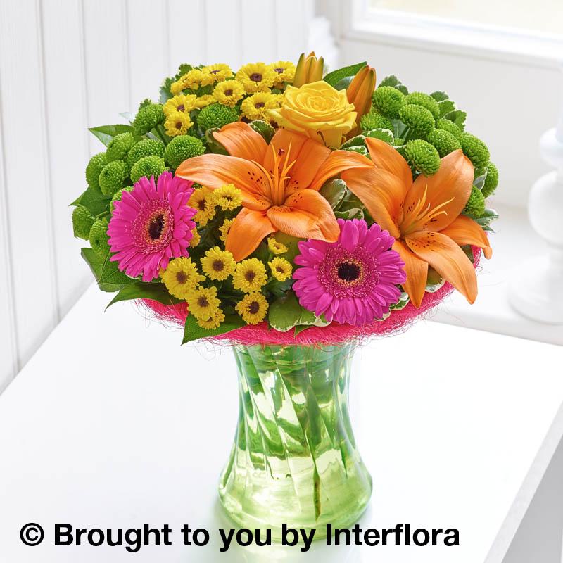 vase of flowers vibrant colours