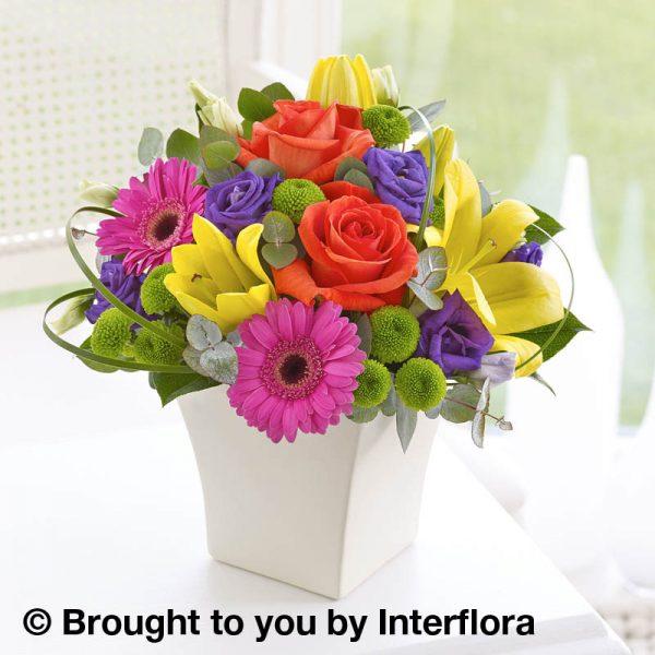 colourful arrangement in a cream pot