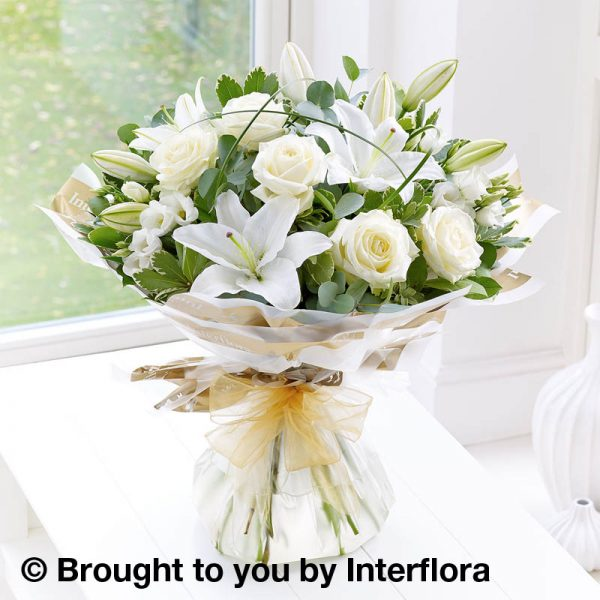 white rose and lily bouquet