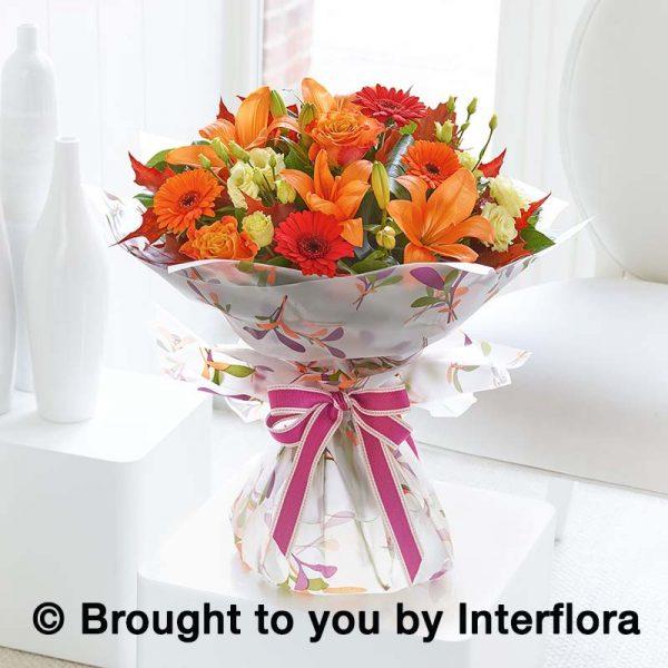 hand-tied bouquet autumn colours