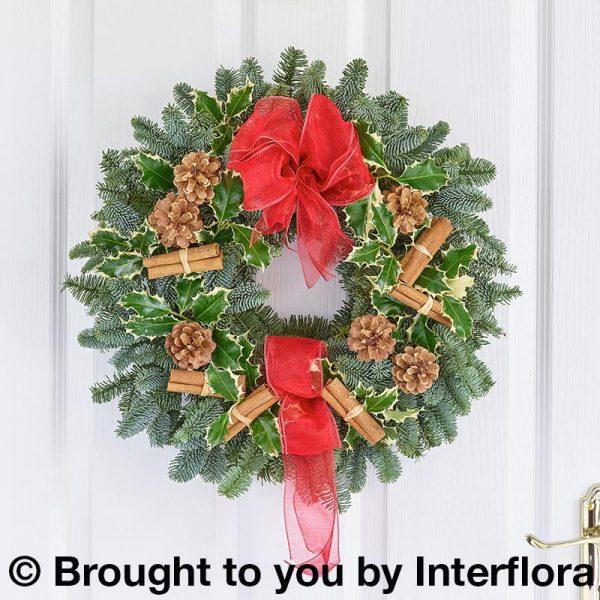traditional christmas door wreath