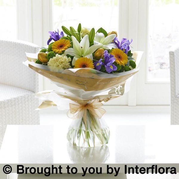 bouquet of flowers including easter eggs