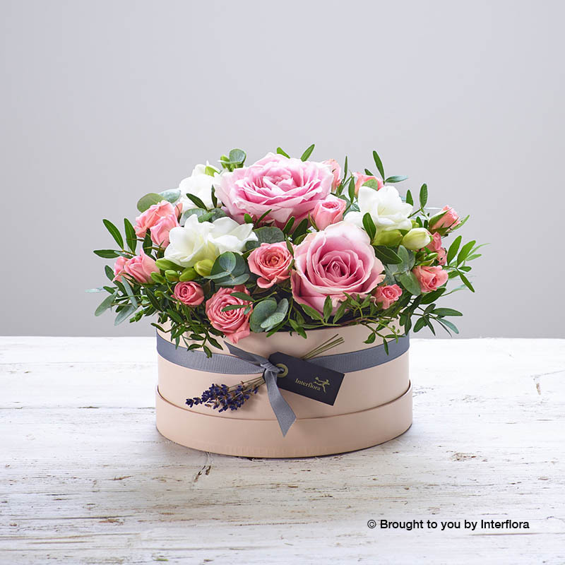 Pink Hatbox with flowers