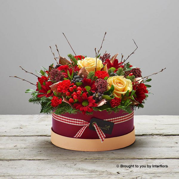 Christmas hatbox of flowers