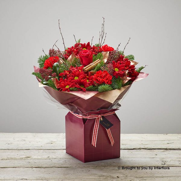 red gift box of flowers