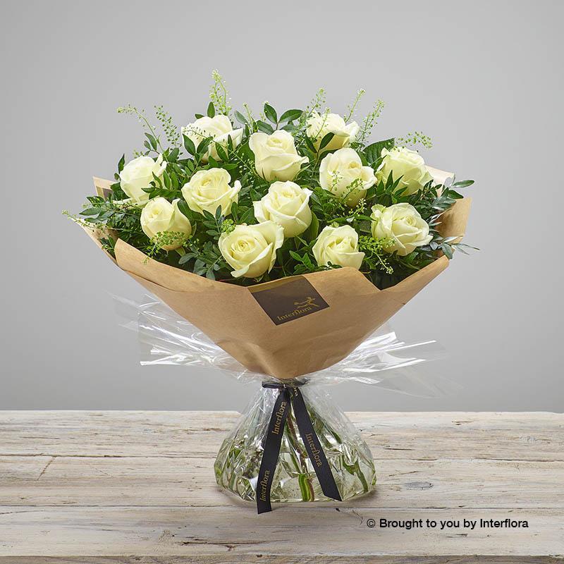 twelve white roses